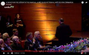 Protokoll a tudomány jegyében - A Magyar Felsőoktatás Napja Díszünnepség, a Pécsi Tudományegyetem Tanévnyitó Ünnepi Szenátusi Ülésének és Pécs MJV Ünnepi Közgyűlésének 2017. szeptember 1-i közös eseménye.